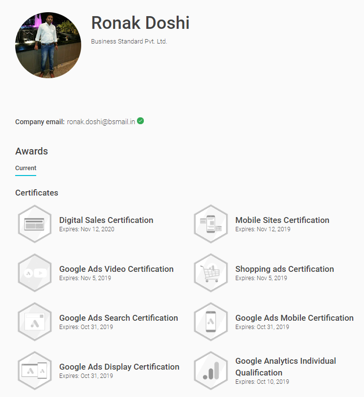 Certifications & Awards - Ronak Doshi